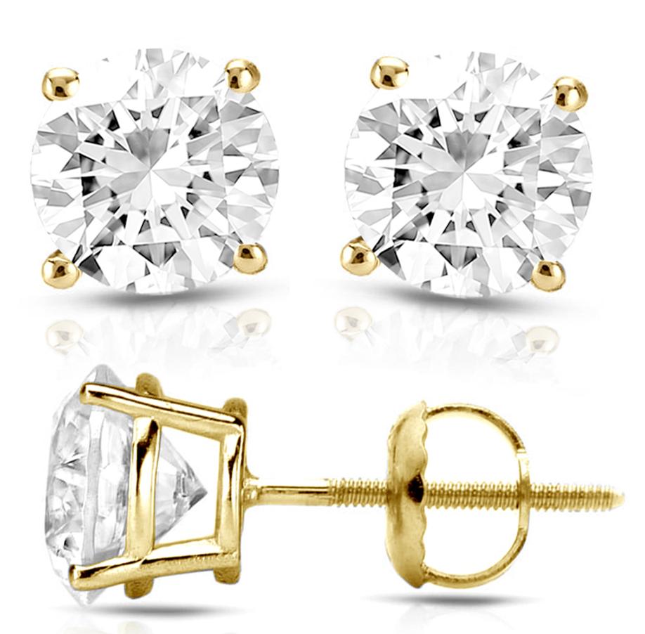 14k Yellow Gold Stud Earrings Round Cut 2 Ct Diamond With Screw Back Pierced N